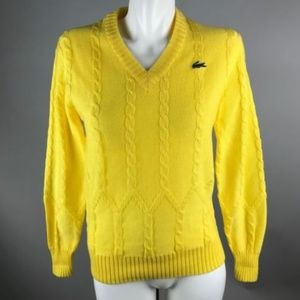 Vtg 60s Haymaker Lacoste Yellow Knit Sweater 38